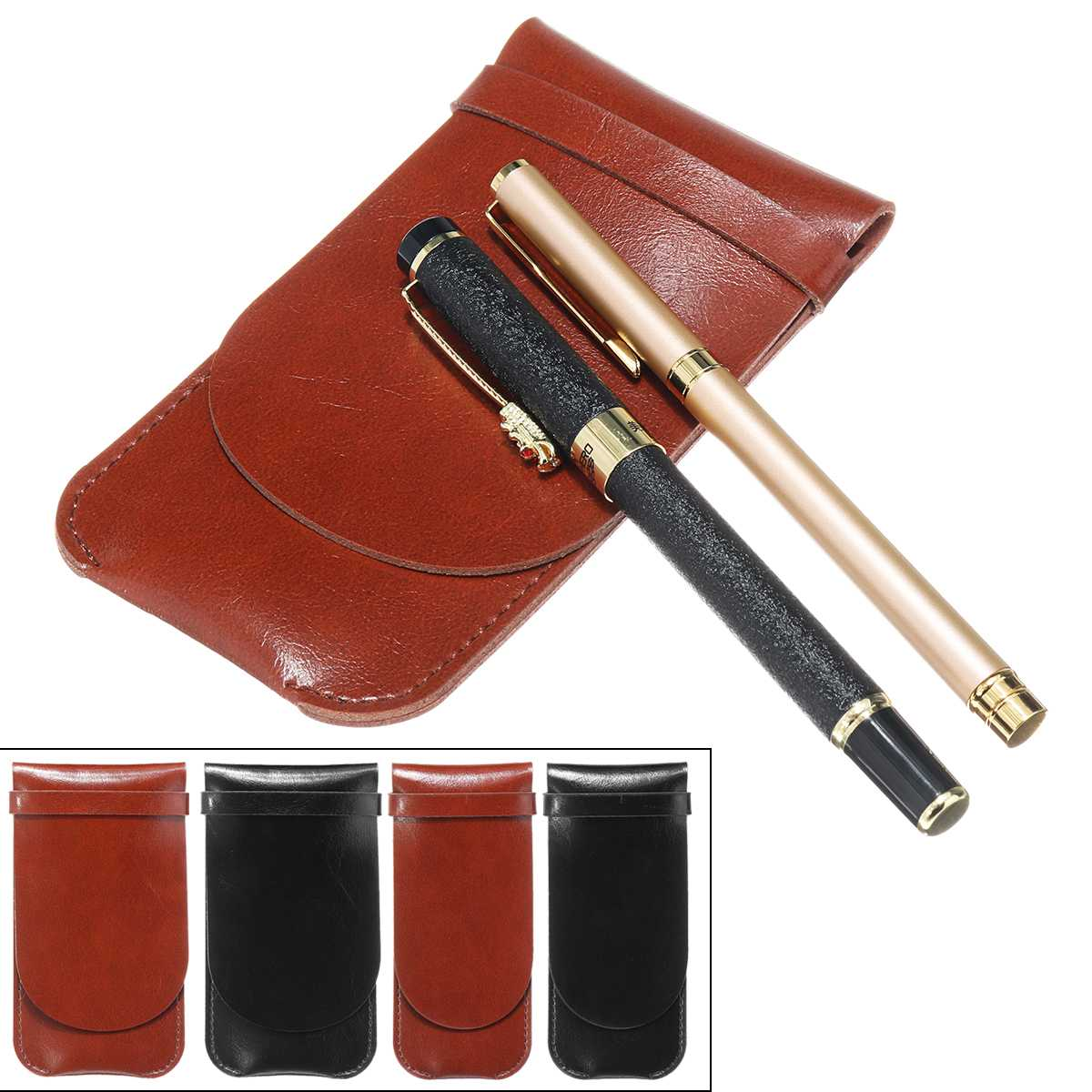 2/4/5 Pens Case Luxury Brown /Blcack Leather Pencil Case/Bag For Roller Ball Pen / Fountain Pen /Ballpoint Pen Binder Stationery