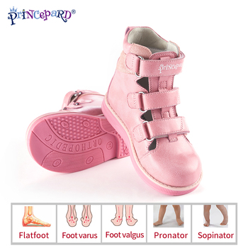 Princepard 2019 new summer autumn orthopedic shoes for kids pink gray sandals genuine leather