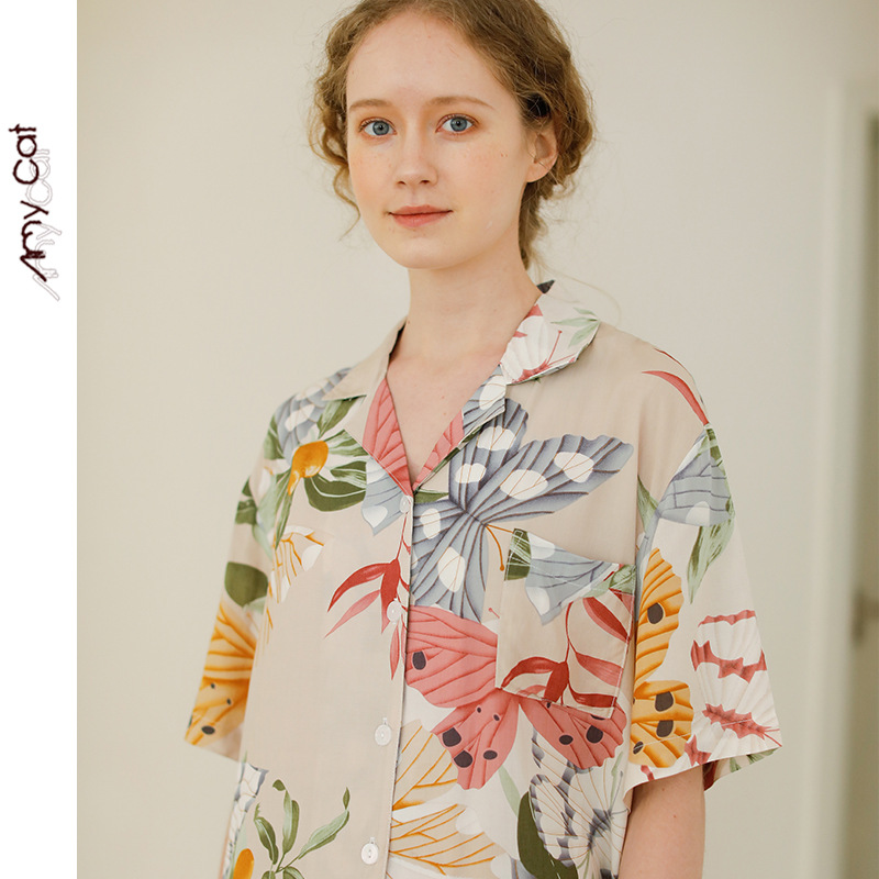 2020 New Short-Sleeved Shorts Women Pajama Set Flower Butterfly Printing Pajamas Turn-down Collar Elegance Home Clothes 2 Piece