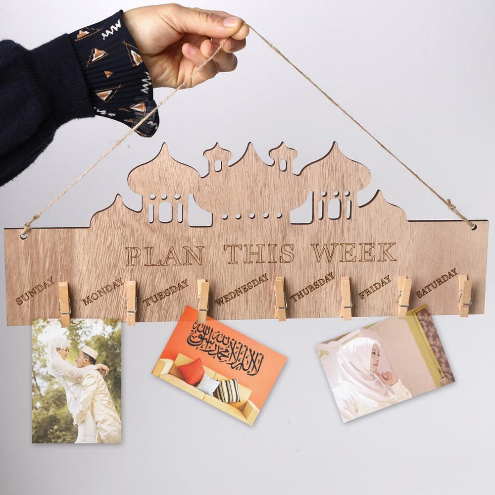 1PCs Ramadan Activities Eid Mubarak Ramadan Wooden Country Eid Al-Fitr Memo Family Jewelry Listing For Home Decor