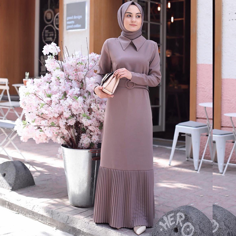 Siskakia Office Lady Maxi Long Dress Muslim Elegant Solid Pleated Patchwork Long Sleeve Dresses Peter Pan Collar Fall Wears 2019