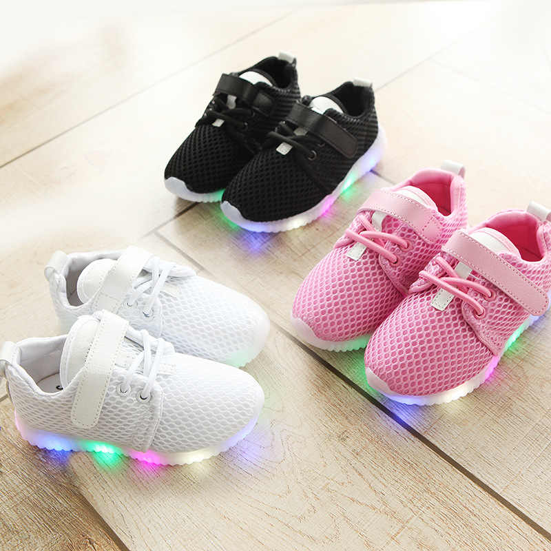 LOOZYKIT 2020 New Fashion LED Kid Sports Shoes Boys Girls Light Up Sneakers Toddler Baby Luminous Casual Trainers Cute