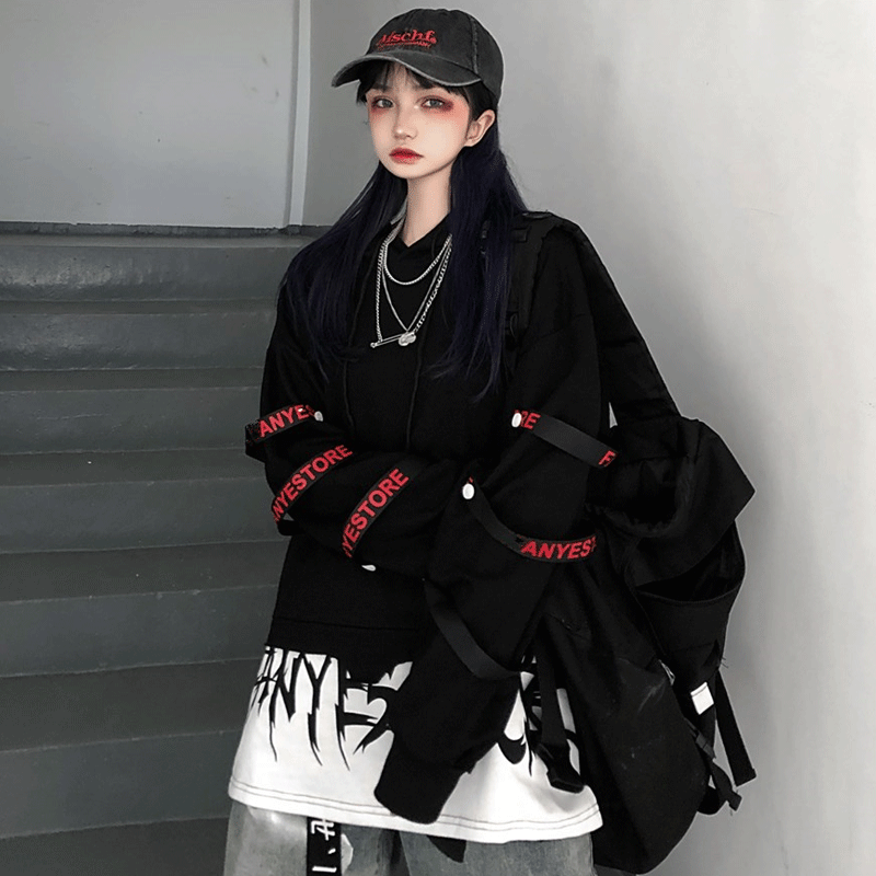 Hip Hop Hoodie Women Korean Loose Tops Female Casual Autumn Long Sleeve Black Punk Hoodie Streetwear High Street Hoodies Girls