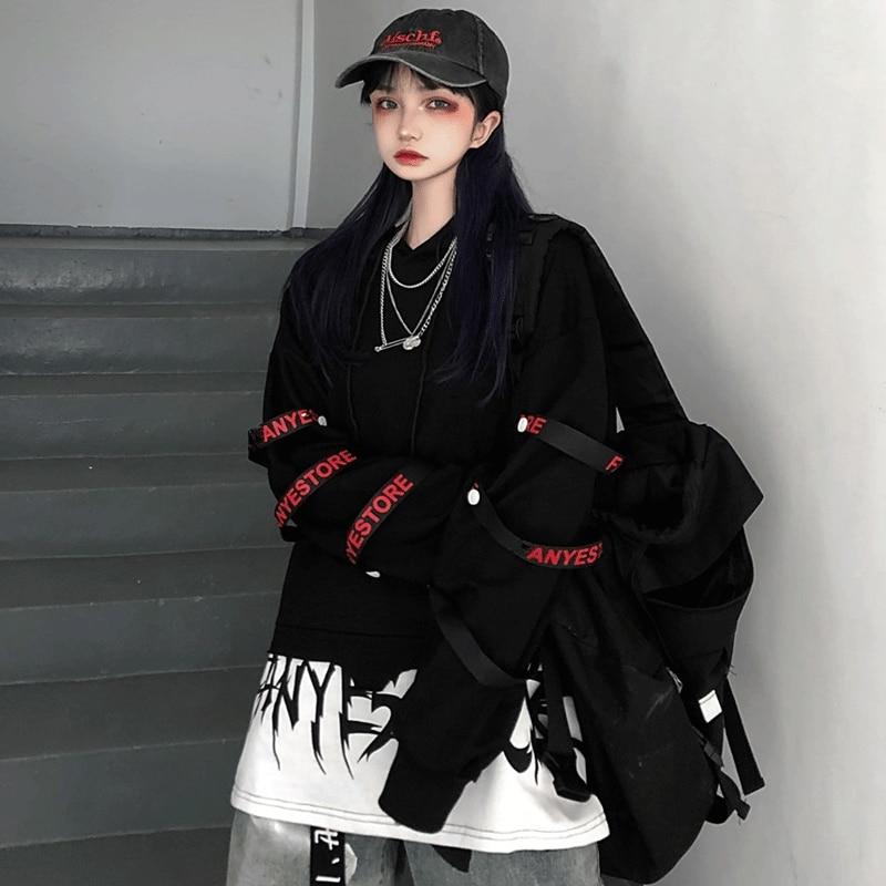 Hip Hop Hoodie Women Korean Loose Tops Female Casual Autumn Long Sleeve Black Punk Hoodie Streetwear High Street Hoodies Girls