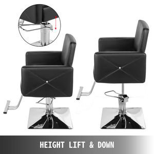 Image 3 - VEVOR Hydraulic Barber Chair PU Leather Styling Chairs for Salon Modern Hairdresser Tattoo Shaving Lift Square Barber Chair