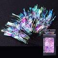 Новинка, зеркальный стикер для ногтей Aurora, из целлофанового стекла, 6 стилей, цветные украшения для ногтей aurora
