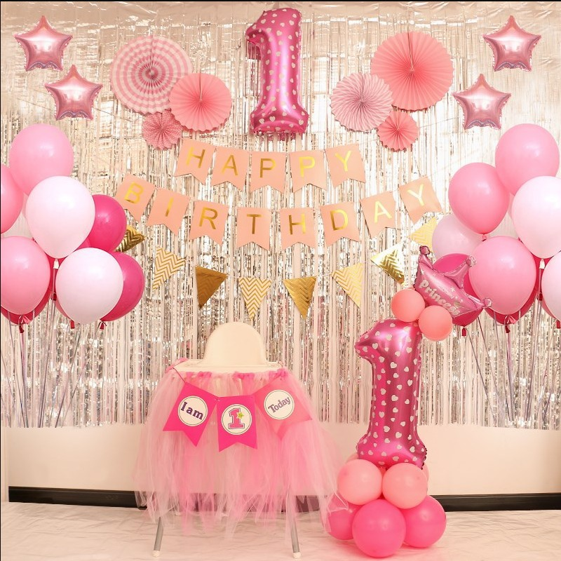 Baby Party Decorations Set 1 Year Theme Newborn Baby Boys Girls Birthday Party Kids Boys Girls Party Decorations