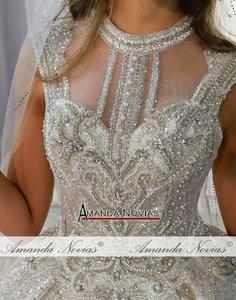Image 5 - Abito da sposa gelinlik lüks dubai düğün elbisesi 2020 uzun dantel peçe amanda novias