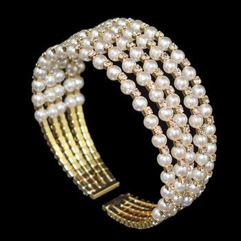 Crystal Pearl Layer Bracelet  1