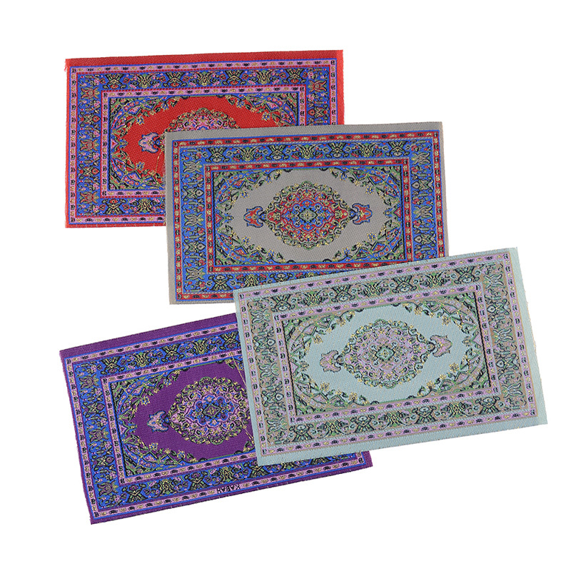 <font><b>1</b></font>:<font><b>12</b></font> Scale Woven Hand Turkish Rugs <font><b>Doll</b></font> <font><b>House</b></font> Mini Carpet Mat Miniature For DIY Dollhouse <font><b>Accessories</b></font> Kit image