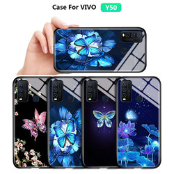 На Алиэкспресс купить стекло для смартфона for vivo y50 y30 y19 y5s y11 2019 soft edge case gradient butterfly floral flower shockproof tempered glass back cover casing