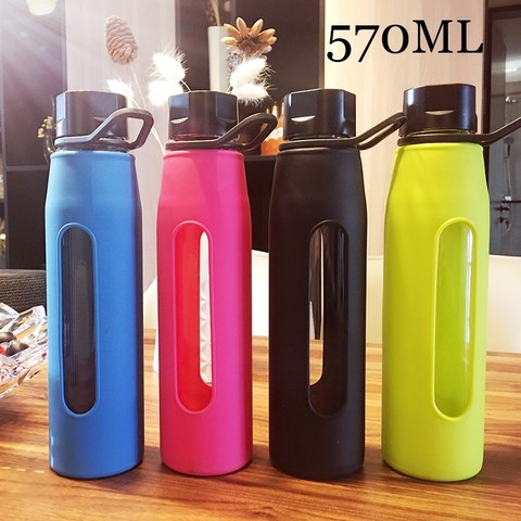 Bpa-Free 570ml Portable Handle Lid High Borosilicate Glass Water Bottle Sports&Outdoor Bicycle Kettle With Silica Body Cover Karachi