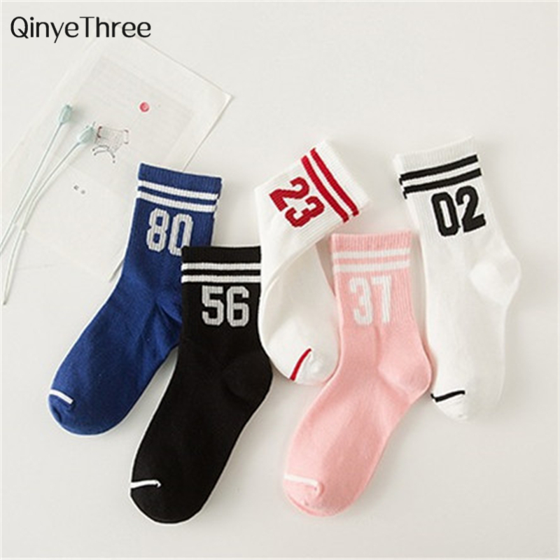 Women Cotton Socks Unisex Letter Digital Number Double Stripe Pattern Harajuku Sox Cool Skateboard Art Hipster Sokken Dropship