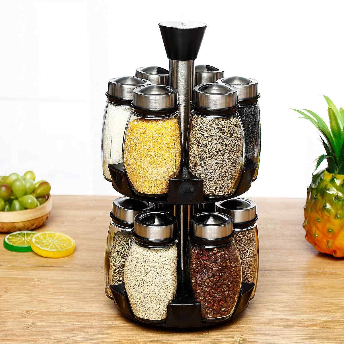 360 rotatif épices stockage support étagères 12 pièces assaisonnement bouteilles Stand cuisine organisateur Condiment Pot stockage pots bouteilles ensemble