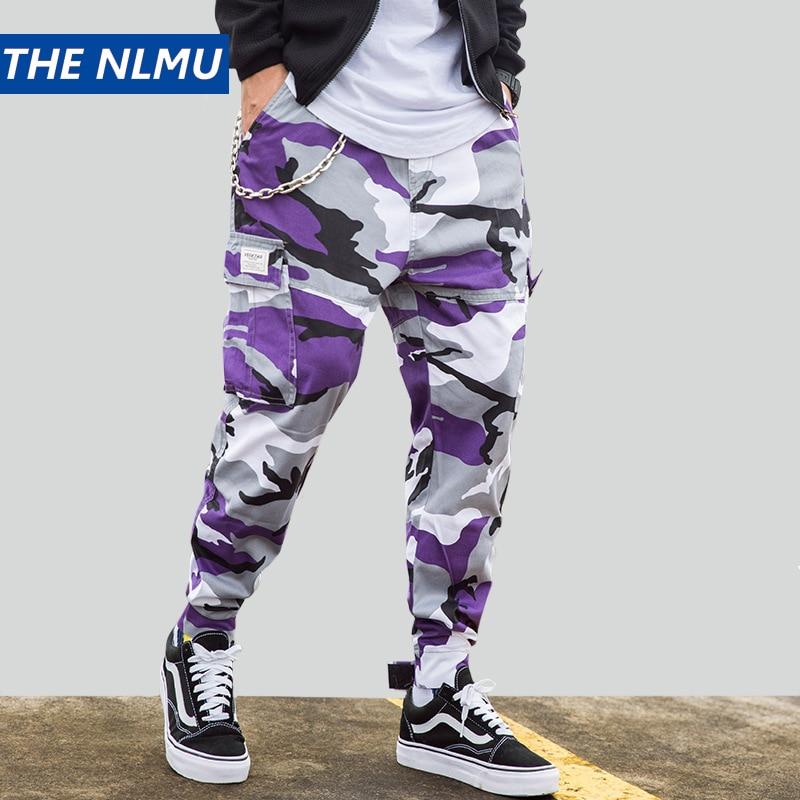 Camouflage Cargo Pants Men Pencil Pant Military 2019 Multi-pocket Streetwear Joggers Hip Hop Camo Tactical Trousers Purple HW130