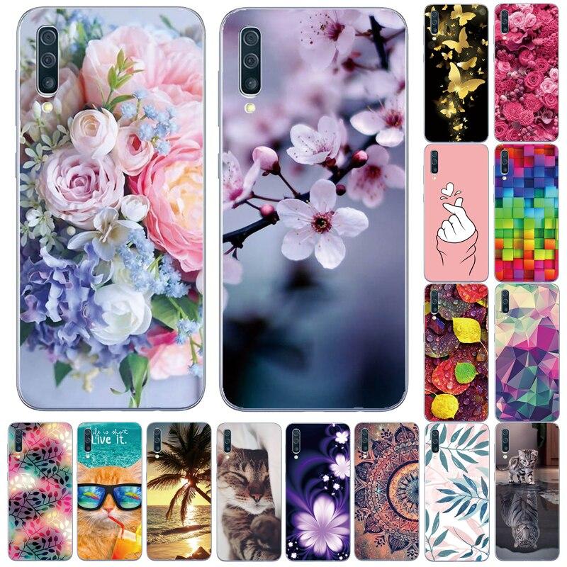 Case For Samsung Galaxy A10 A70 A50 A30 A40 A20  Phone Case Silicone Soft TPU Cover For Samsung A10 A50S Cute Flower cat Bumper