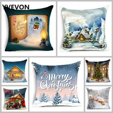 New Christmas Cotton Linen Throw Pillow Cushion Cover Santa Claus Pattern  Pillowcase Car Tree Snow Home Decorative 45cm 18inch