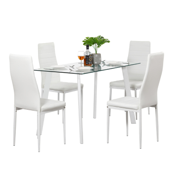 DA130 120x70x75cm Hot 5 Piece Dining Table Set 4 Chairs Glass Metal Kitchen Room Furniture White 1