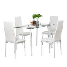 DA130 120x70x75cm Heißer 5 Stück Esstisch Set 4 Stühle Glas Metall Küche Zimmer Möbel weiß