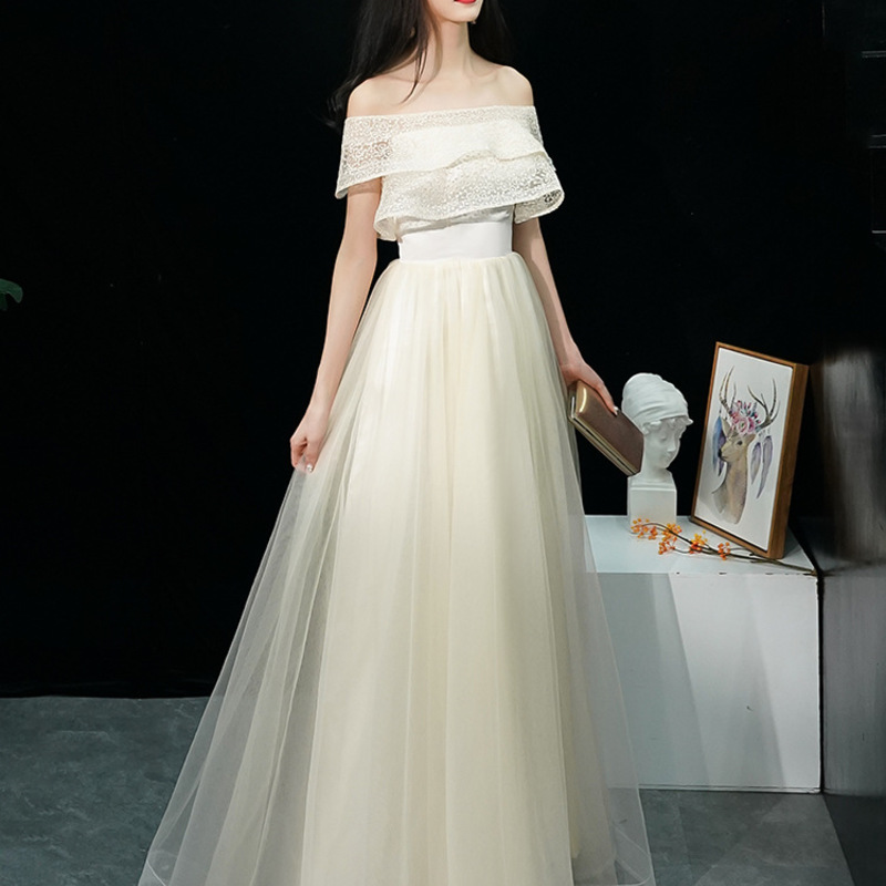 2020 Real Half Elegant And Sexy Dress Vogue Of New Fund Of 2020 Party A Word Shoulder Cultivate Morality Show Thin Long Evening