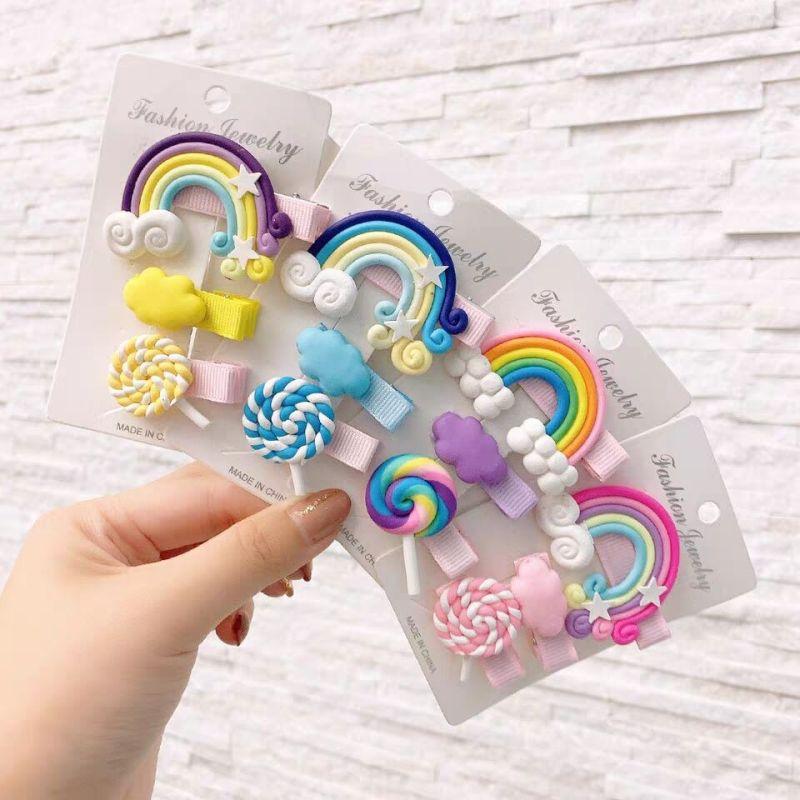 Colorful Rainbow Hairpin Girl Lollipop Bangs Cute Hairpin Clip Girls Simple Hair Accessories Children's Hair Clip Set