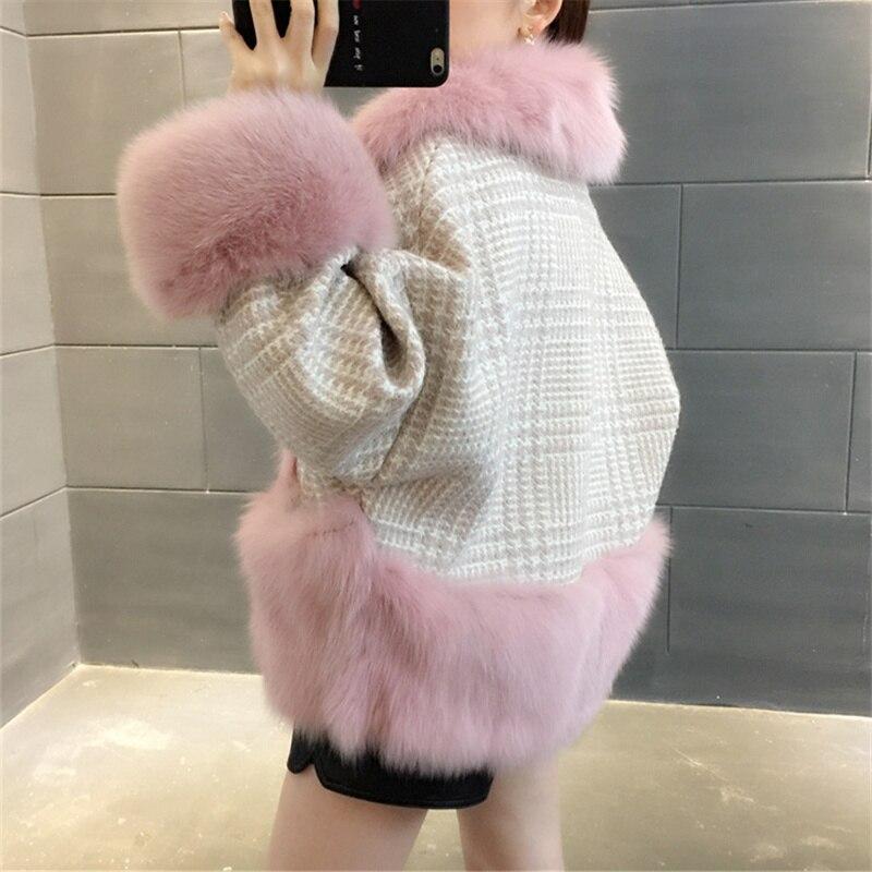 new 2020 100% natural fox fur Fur fashion pie to overcome coat female wool woolen tweed short winter coat tide en