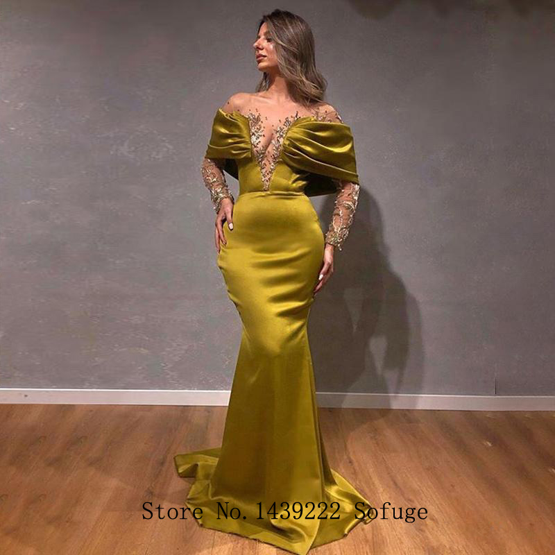 Graceful Satin Scoop Evening Dresses Mermaid Prom Beads Off The Shoulder Appliques Vestidos De Fiesta Robe De Soiree Plus Size