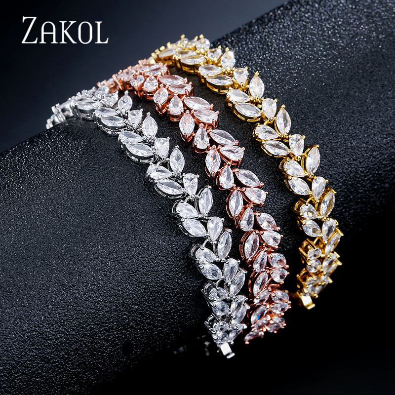 ZAKOL High Quality Fashion Cubic Zirconia Leaf Bracelet for Women Bridal Wedding Party Jewelry FSBP2126