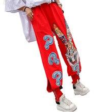 Цин МО женщин блесток женщин брюки мультфильм печати эластичный пояс брюк черный красный белый Haren брюки 2020 ZQY157