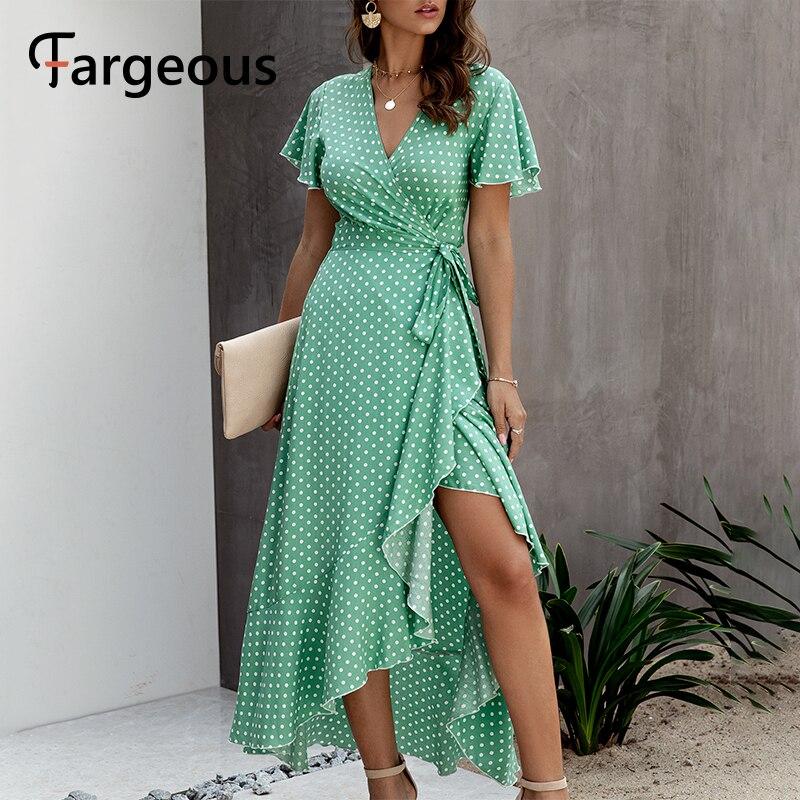 Fargeous Sexy V Neck Polka Dot Long Wrap Dress Women 2020 Summer Casual High Waist Rufffle Holiday Maxi Dress Ladies Vestidos