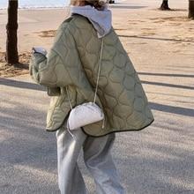 Parkas sueltas informales de Arygle para mujer, abrigos cortos de algodón sólido grueso a la moda, chaquetas elegantes con bolsillos grandes, ropa para mujer 2021