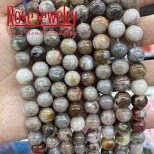 Gobi-Cuentas de piedra redonda suelta para la fabricación de joyas, piedras naturales, ágatas, 6, 8 y 10 MM