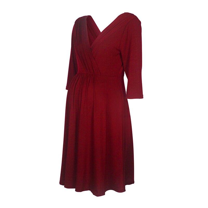 Image 5 - Vestidos de lactancia materna ropa de maternidad para mujeres embarazadas ropa sólida con cuello en V vestidos de embarazo vestido de noche para madresVestidos   -