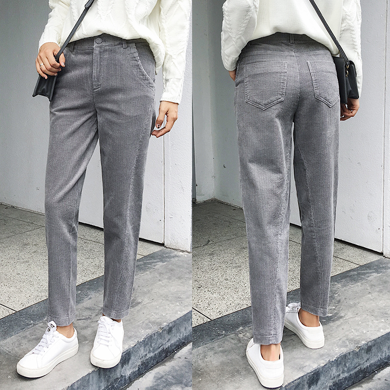 Women Corduroy Pants 2019 Autumn Winter Vintage Solid Casual Pleated Office Laldy High Waist Harem Pant Women Corduroy Trousers