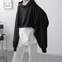 Осенние корейские короткие толстовки мужские модные однотонные