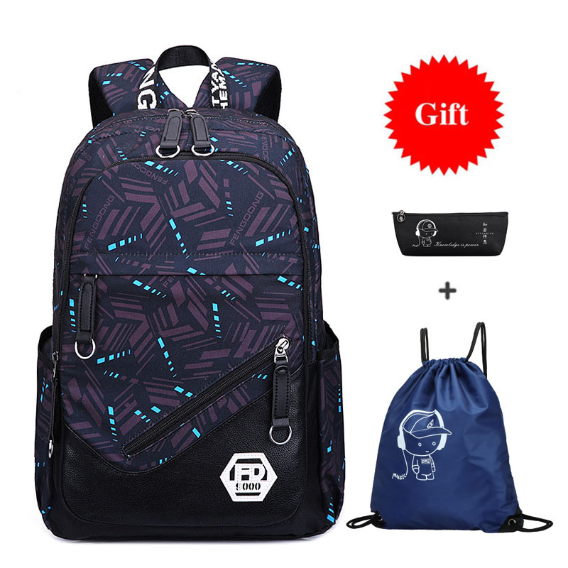3pcs Black Large School Backpack Multifunction Waterproof Back Pack School Bags For Boys Book Bag Student Schoolbag