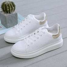 Кроссовки женские из мягкой кожи повседневная обувь белые весна