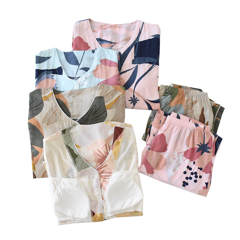 Full Cotton Pajamas Set Floral Printed Women Sleepwear Simple Style Spring And Summer Long Sleeve Cardigan+Pants Loose Homewear