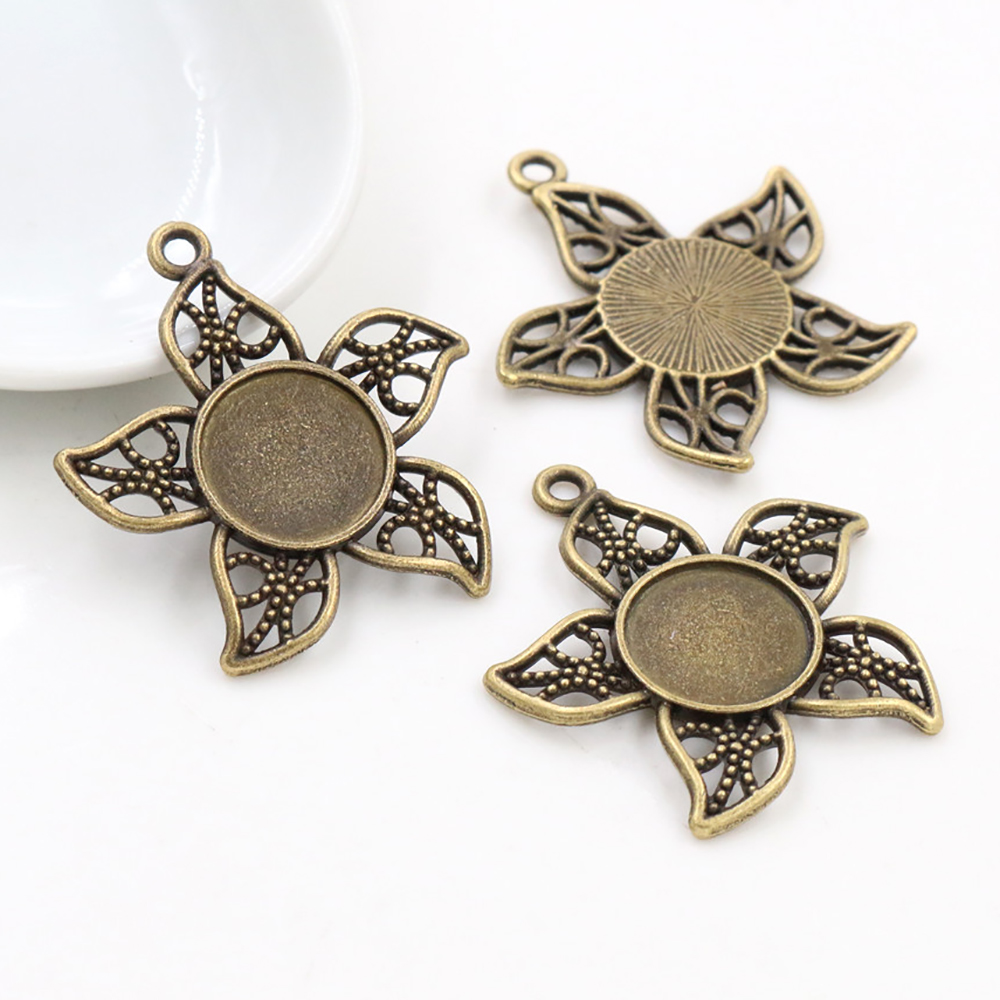 12pcs 12mm Inner Size Antique Bronze Flower Style Cabochon Base Cameo Setting Charms Pendant (A7-35)