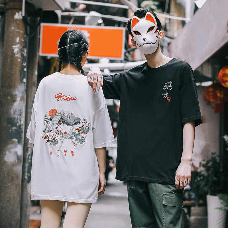 2020 Summer Embroidery Cranes Men's T-shirts Japanese Streetwear  Flowers Male Tee Top New Harajuku Casual Hip Hop T-shirts Men