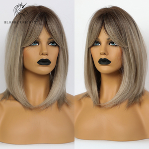 Прямые парики для черных женщин с темным корнем, темно-русые, серые, коричневые, Bobo, синтетические парики с челкой, Косплей волосы