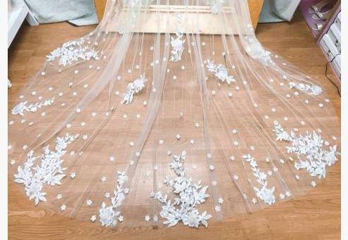 Wedding Veil  Width Comb Lace Mantilla Cathedral Bridal Veil Wedding Accessories Veu De Noiva  EE89