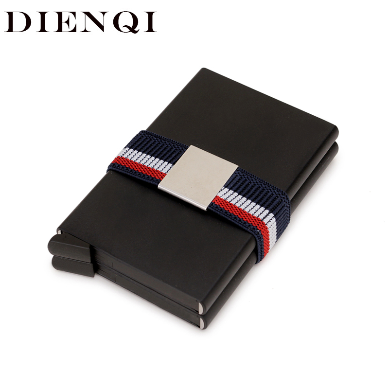 DIENQI Double Metal Credit Card Holder Wallet Anti Rfid Blocking Men Smart Security Minimalist Wallet Steel Cardholder Case Big