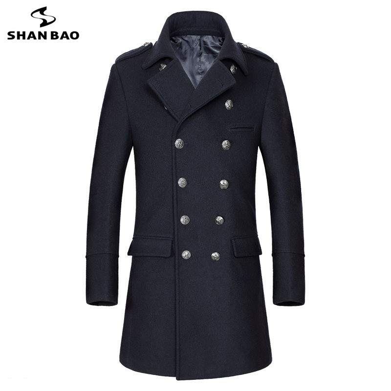 Navy Blue Wool Coat Business Casual Brand Clothing 2019 Winter Luxury High Quality Thick Warm Double Row Button Men's Slim Coat