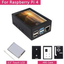 3.5 inç ahududu Pi 4 Model B dokunmatik ekran 50FPS 5 FPS 480*320 LCD ekran + çift kullanımlı ABS kılıf kutusu kabuk için ahududu Pi 4