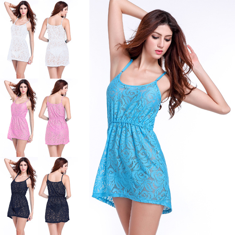 2019 Summer Wear New Style Korean-style Lace Sleeveless Strapped Dress Beautiful Lace Crochet Camisole Off-Shoulder Dress