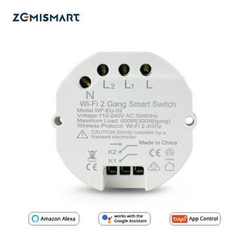 Zemimart Tuya Module de commutation WiFi Mini Base de commutateur Alexa Google contrôle de la maison 2 Gangs 2 voies