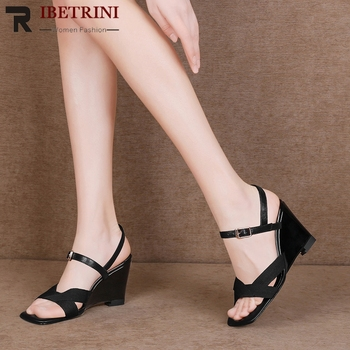RIBETRINI Brand Cow Leather Sandals Square Toe Casual Office High Wedges Sandals Women Black Elegant Summer Shoes Woman