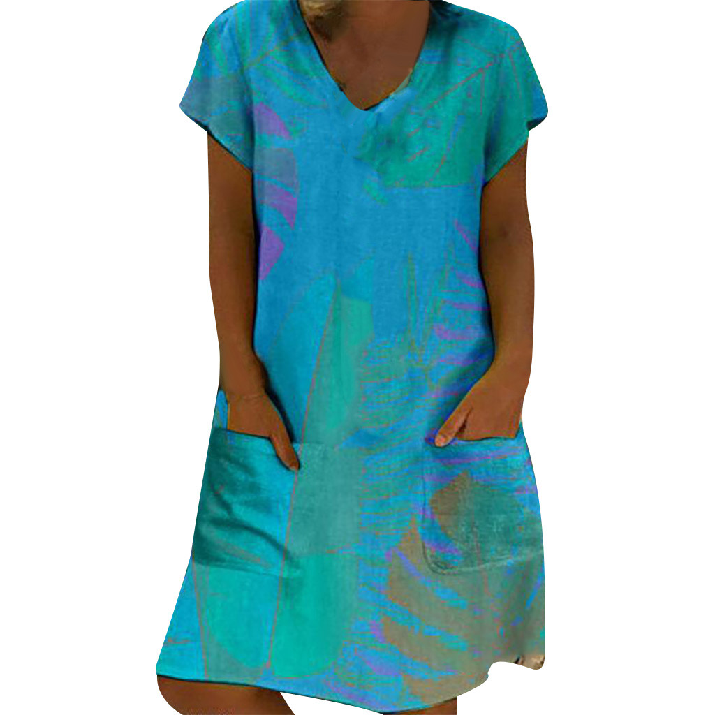 Girl clothing Women Short Sleeve V Neck Casual Poket Printed Tunic Dress Knee Holiday Dress Elegant Women's Bodycon Vestidos#8