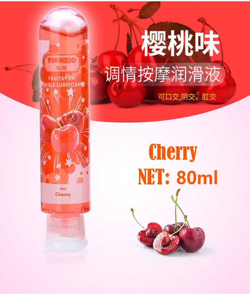 80mL smak owocowy truskawka/wiśnia/jabłko/brzoskwinia/borówka/cytryna smar na bazie wody Anal żel do oralnego Sex Lube do pochwy/penisa